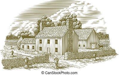 Woodcut English Farm.