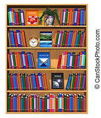 Wooden Bücherregal mit Farbbüchern
