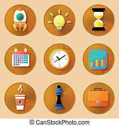 Wooden Business Icons Set.