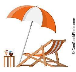 Wooden Chaise Lounge, Regenschirm, Cocktail