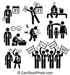 Worker Finanz Problem Cliparts.