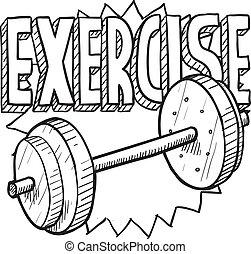 workout, skizze, gewicht
