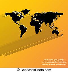 World Map Web Icon, flaches Design