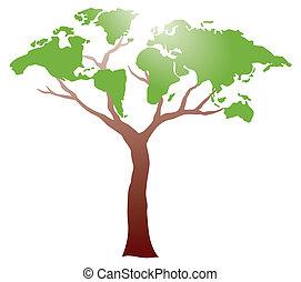 Worldmap auf dem Baum