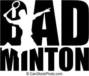 wort, freisteller, badminton, silhouette
