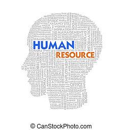 wort, geschäftskonzept, menschliche , ressource, wolke