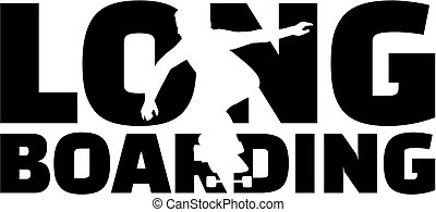 wort, longboarding, silhouette, freisteller