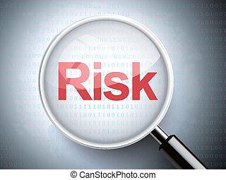 wort, risiko, glas, vergrößern