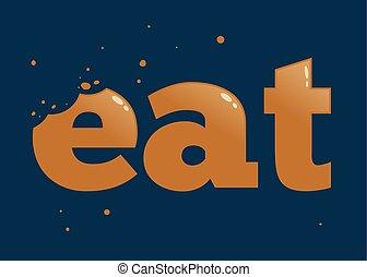 Worte essen mit Bissspuren.