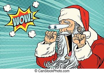 Wow Santa Claus Weihnachten Charakter emotionale Reaktion