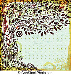 Wunderschöne alte Hand, gemalter Baum des Lebens