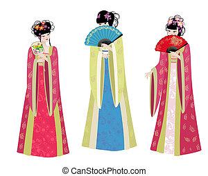 Wunderschöne asiatische Mädchen in Kostümen