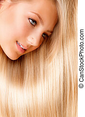 Wunderschöne blonde, lange Haare. Blondes Mädchen, Großbild