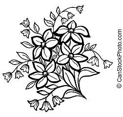 Wunderschöne Blumenvereinbarung, ein schwarzer Umriss auf weißem Hintergrund