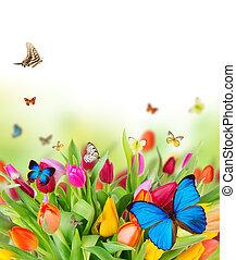 Wunderschöne Frühlingsblumen mit Schmetterlingen