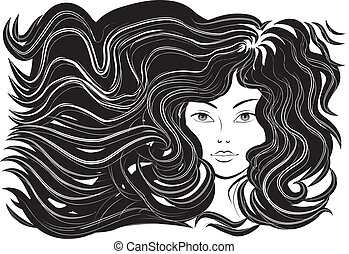 Wunderschöne Frau mit fließenden Haaren