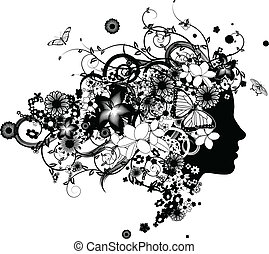 Wunderschöne Frau mit Haaren aus Blumen