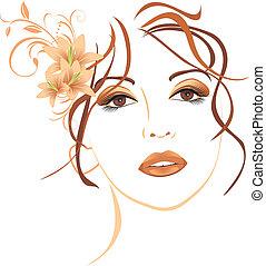 Wunderschöne Frau mit Lilien im Haar