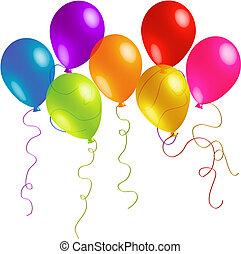 Wunderschöne Geburtstagsballons mit langen Bändern