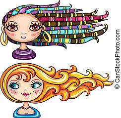 Wunderschöne Mädchen mit Frisuren
