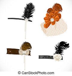 Wunderschöne Stirnbänder und Hut mit Federn zu einer Retro-Party, isoliert auf weißem Hintergrund