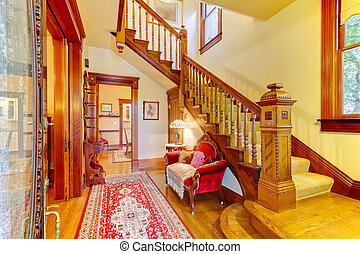 Wunderschöner Amecianischer alter Hauseingang mit Holztreppe.