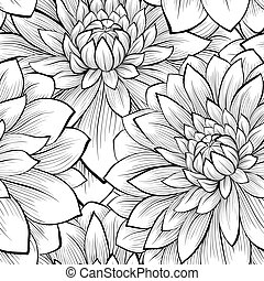 Wunderschöner, nahtloser Hintergrund mit monochromen schwarzen und weißen Blumen