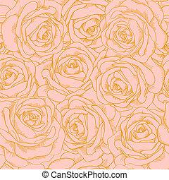 Wunderschöner, nahtloser Hintergrund von rosa Rosen mit goldenem Umriss im klassischen Stil