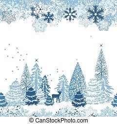 Wunderschönes blaues Muster mit Winterwald.