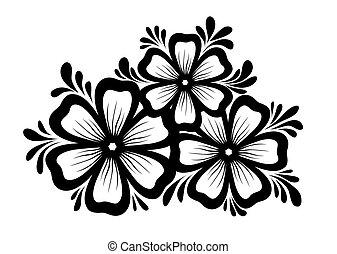 Wunderschönes Blumenelement. Schwarz-weiße Blumen und hinterlässt Design-Element. Blumendesign-Element im Retrostil.