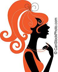 Wunderschönes Mädchen-Silhouette-Profil