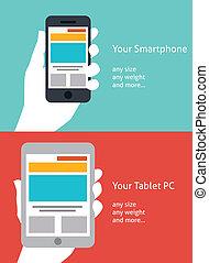 Wunderschönes Smartphone und Tablet Flat Ikon Design