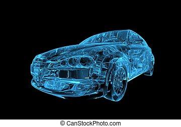 xray, auto, blaues, durchsichtig, 3d