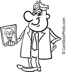 xray, weißes, schwarz, karikatur, doktor