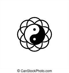 yang, schablone, vektor, yin, logo