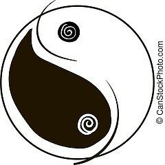 yang, weißes, hintergrund., vektor, yin, abbildung
