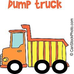 Yellow dump Truck Cartoon Vektor.
