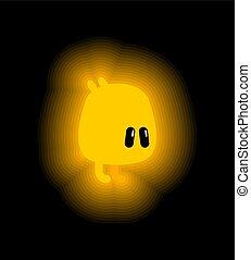 Yellow sweet Monster Magic Firefly Kreatur. Mythische Zeichentrick-Stil Vektorgrafik