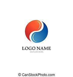 yin, ikone, logo, vektor, yang, schablone