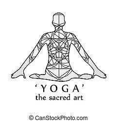 yoga-, kunst, heilig