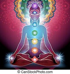 Yoga Lotus Position und Chakra.
