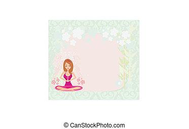 Yoga-Mädchen in Lotusposition, Abstragungsrahmen