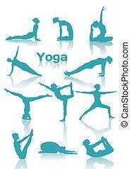 Yoga positioniert grüne Silhouette