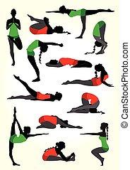 Yoga Silhouetten Hintergrund in weiß.