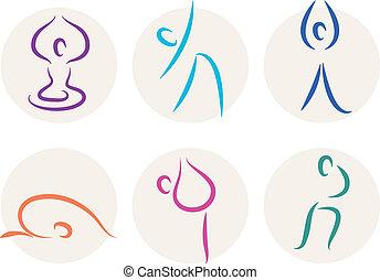 Yoga-Stickfiguren oder Symbole isoliert auf weiß