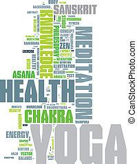 YOGA. Word Collage auf weißem Hintergrund.