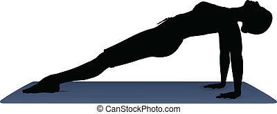 yogastellungen, haltung, abbildung, vektor, planke, aufwärts