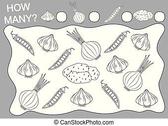 Zähl, wie viele Gemüse. Farbseite. Schulspiel für Vorschulkinder. Freizeitaktivität. Vector Illustration.