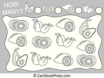 Zählen Sie, wie viele Früchte und Farbe sie (Farbebuch). Schulspiel für Vorschulkinder. Vector Illustration.