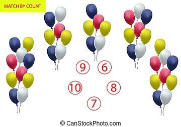 Zählspiel für Vorschulkinder. Mathematische Aufgabe. Wie viele Objekte. Mathematik lernen, Zahlen, Logik.